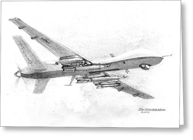 Jim Hubbard Greeting Cards - Drone MQ-9 Reaper Greeting Card by Jim Hubbard