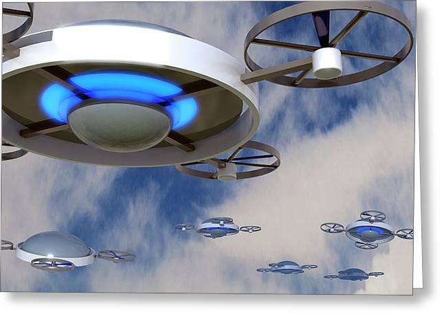 Drones Greeting Card by Christian Darkin