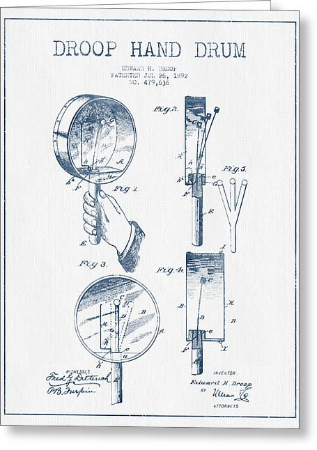 Drum Art Greeting Cards - Droop Hand  Drum Patent Drawing from 1892 - Blue Ink Greeting Card by Aged Pixel