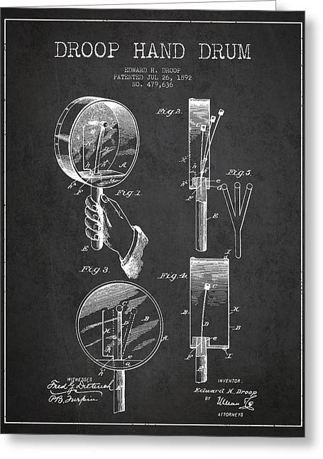 Hands Digital Art Greeting Cards - Droop Hand  Drum Patent Drawing from 1892 - Dark Greeting Card by Aged Pixel