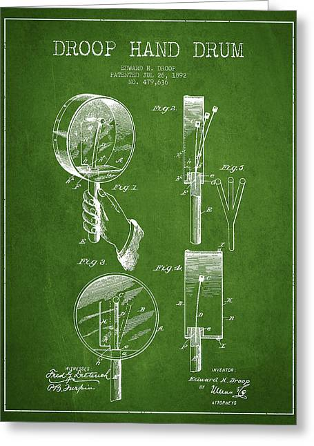 Hands Digital Greeting Cards - Droop Hand  Drum Patent Drawing from 1892 - Green Greeting Card by Aged Pixel