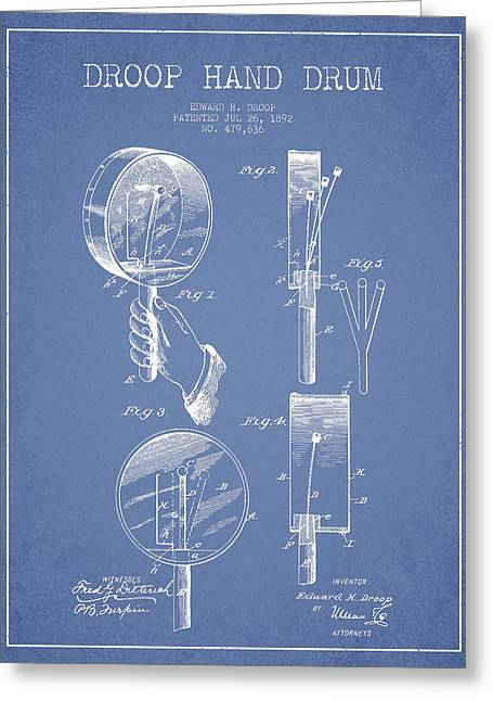 Hands Digital Art Greeting Cards - Droop Hand  Drum Patent Drawing from 1892 - Light Blue Greeting Card by Aged Pixel