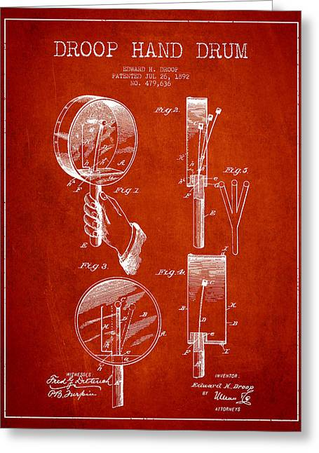 Hands Digital Art Greeting Cards - Droop Hand  Drum Patent Drawing from 1892 - Red Greeting Card by Aged Pixel