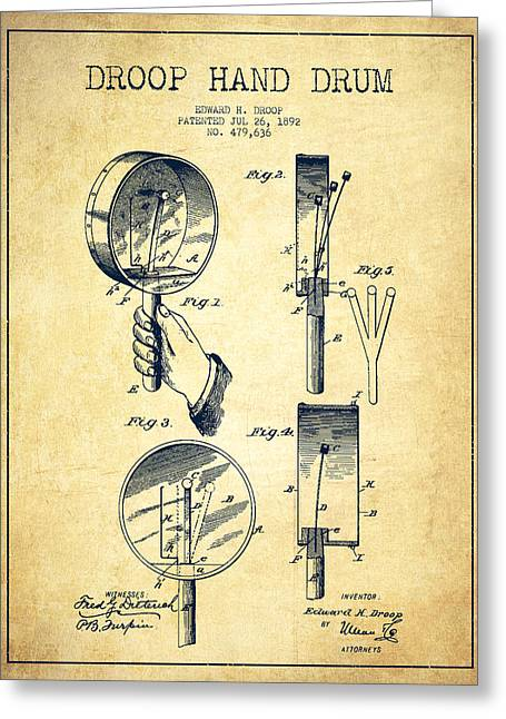 Hands Digital Art Greeting Cards - Droop Hand  Drum Patent Drawing from 1892 - Vintage Greeting Card by Aged Pixel