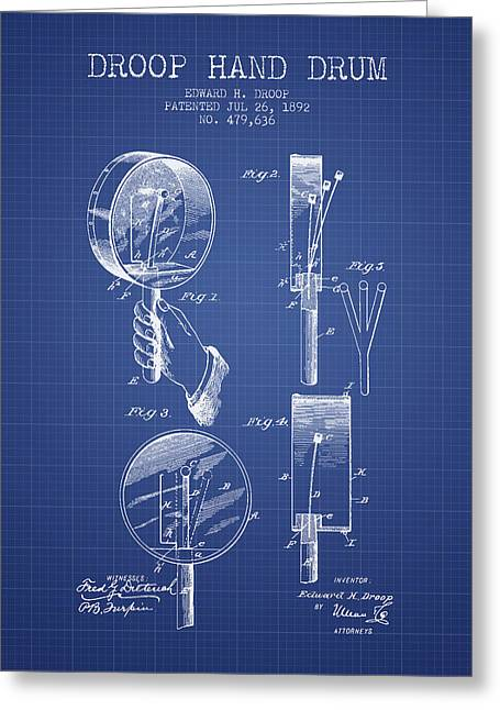 Hands Digital Art Greeting Cards - Droop Hand  Drum Patent from 1892  - Blueprint Greeting Card by Aged Pixel