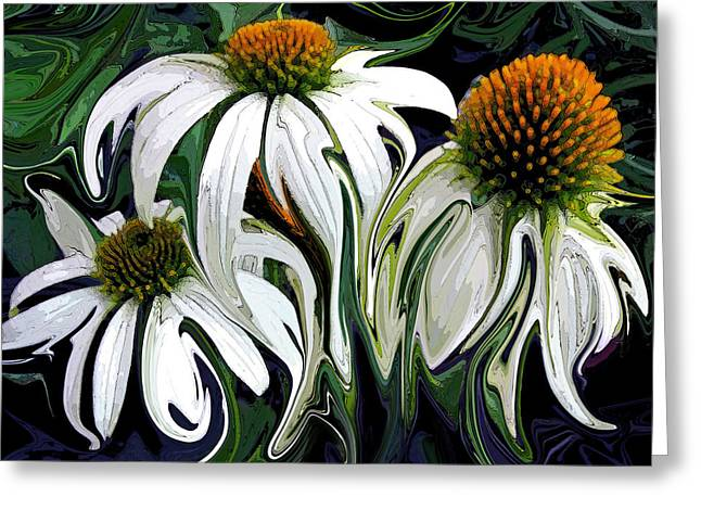 Abstracted Coneflowers Paintings Greeting Cards - Droopy Daisies Greeting Card by Suzy Freeborg