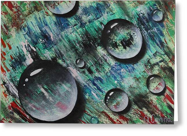 Droplet Paintings Greeting Cards - Droplets  Greeting Card by Jose Corona