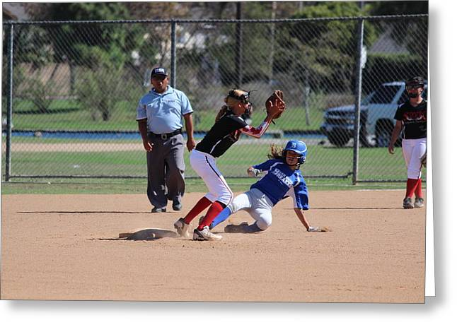 Girls Softball Greeting Cards - Dropping Down Greeting Card by Robert Austin