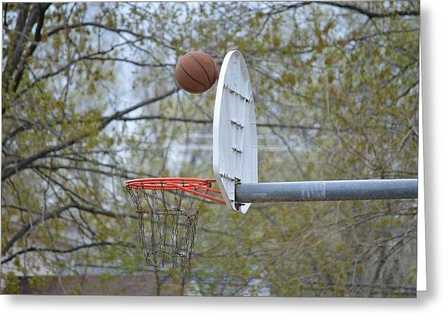 Basket Ball Game Greeting Cards - Dropping in Greeting Card by Sonali Gangane