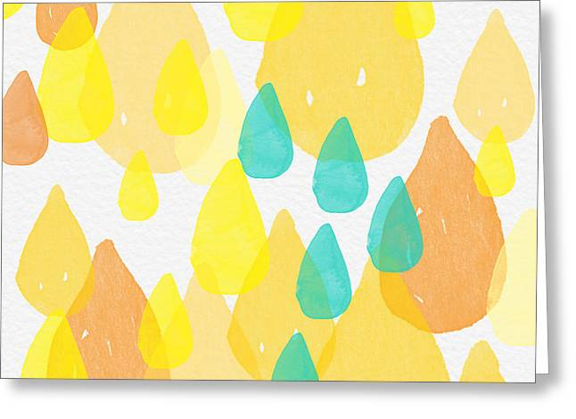 Blues And Yellows Greeting Cards - Drops of Sunshine- abstract painting Greeting Card by Linda Woods
