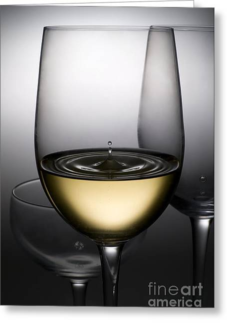 Celebrate Greeting Cards - Drops Of Wine In Wine Glasses Greeting Card by Setsiri Silapasuwanchai