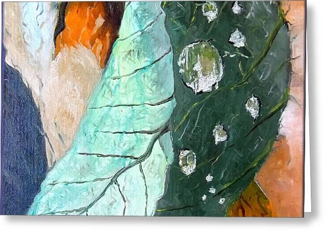 Drops on a leaf Greeting Card by Daniel Janda
