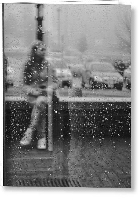 Maine Greeting Cards - Drops on a Window Black and White  Greeting Card by Amanda  Russell