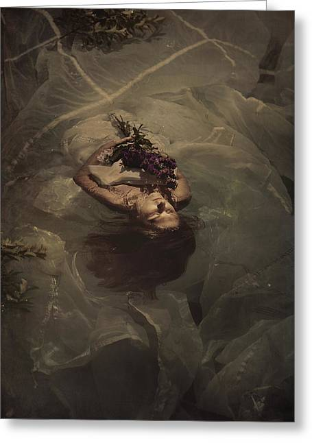 Floating Girl Greeting Cards - Drowning sorrow Greeting Card by Tammy Swarek