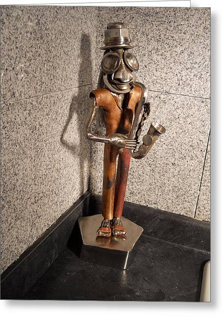 Stainless Sculptures Greeting Cards - Dr.sax Greeting Card by Carl LeGrand