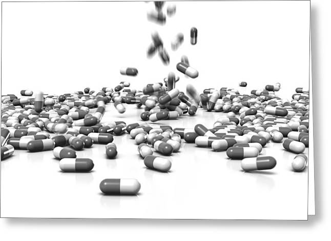 Tablets Greeting Cards - Drug capsules, artwork Greeting Card by Science Photo Library