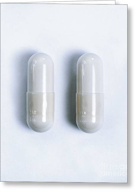 Capsule Greeting Cards - Drug Capsules Greeting Card by Cordelia Molloy