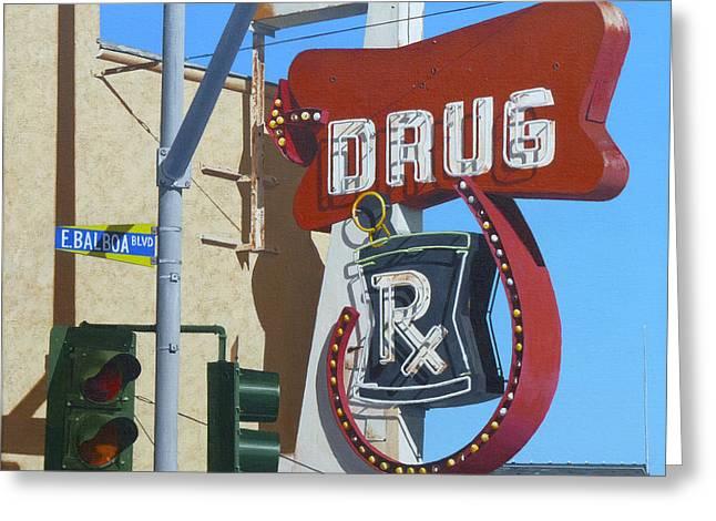 Streetlight Paintings Greeting Cards - Drug Greeting Card by Michael Ward