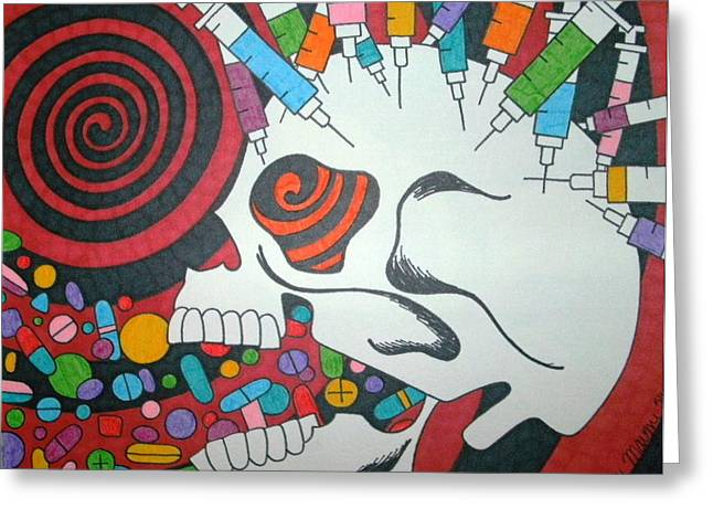 Pill Drawings Greeting Cards - Drug Skull Greeting Card by Toni Margerum