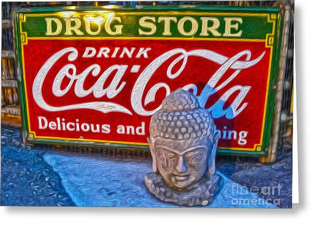 Drug Store Buddha Greeting Card by Gregory Dyer