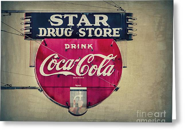 Star Drug Store Greeting Cards - Drug Store Neon Greeting Card by Perry Webster
