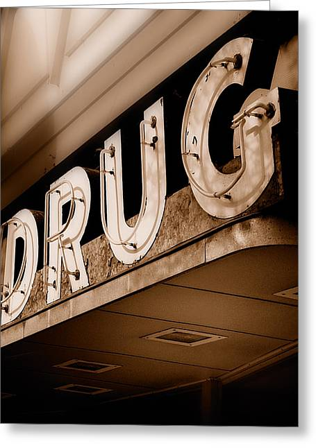 Drug Stores Greeting Cards - Drug Store Sign - Vintage Downtown Pharmacy Greeting Card by Steven Milner
