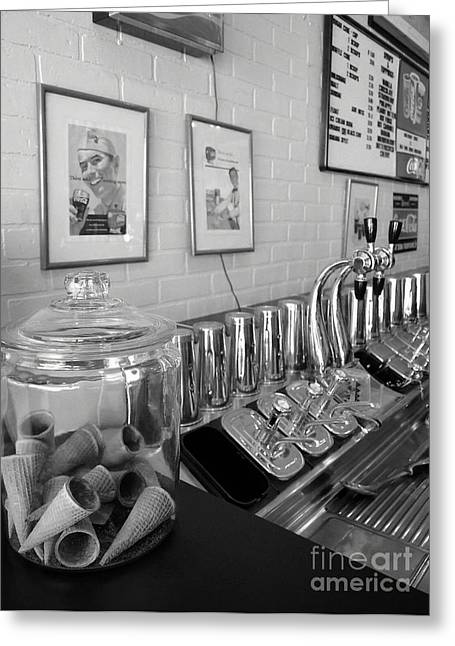 Stainless Steel Greeting Cards - Drug Store Soda Fountain Greeting Card by Mel Steinhauer