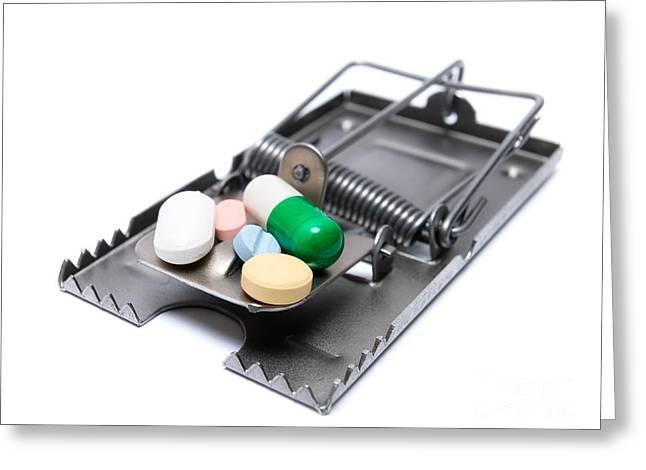 Medicament Greeting Cards - Drug treatment risk Greeting Card by Sinisa Botas