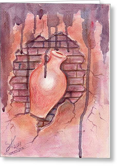Framed Anti Drug Print Greeting Cards - Drugged Old jar Greeting Card by Shirwan Ahmed