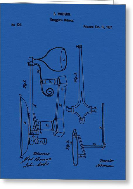 Druggist Greeting Cards - Druggists Balance Patent Greeting Card by Dan Sproul