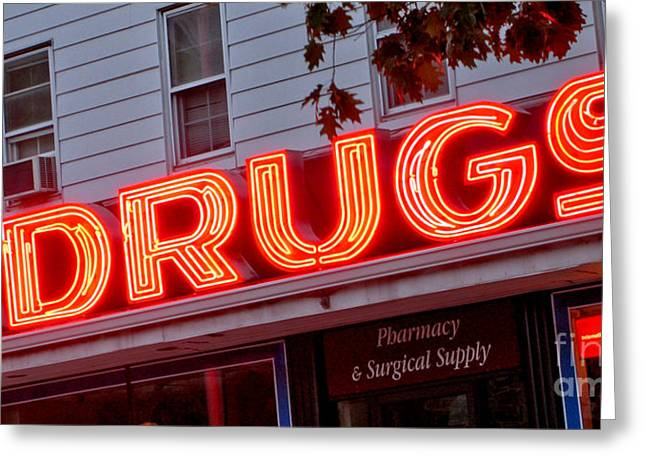 Drugstore Greeting Cards - Drugs Greeting Card by Olivier Le Queinec