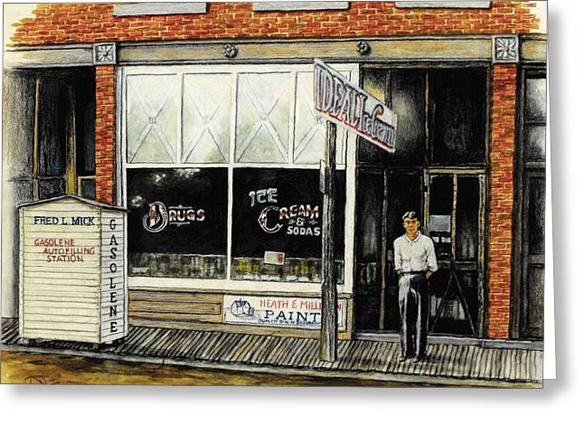 Brick Buildings Drawings Greeting Cards - Drugstore-Ice Cream Parlor Greeting Card by Todd Spaur