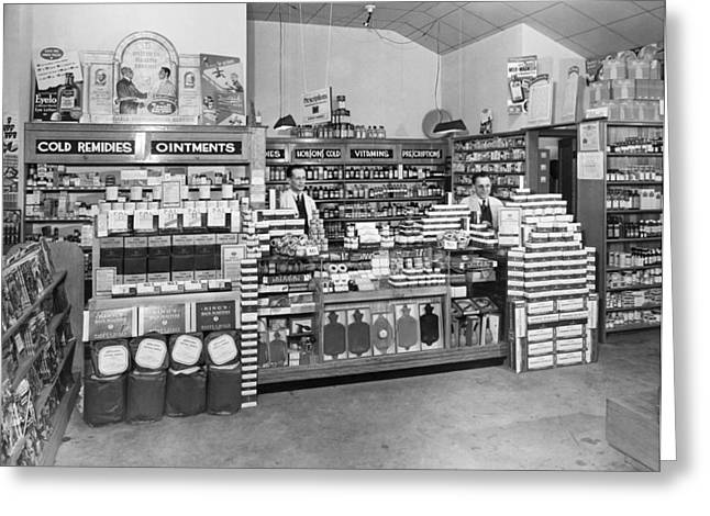 Drugstore Interior Greeting Card by Underwood Archives