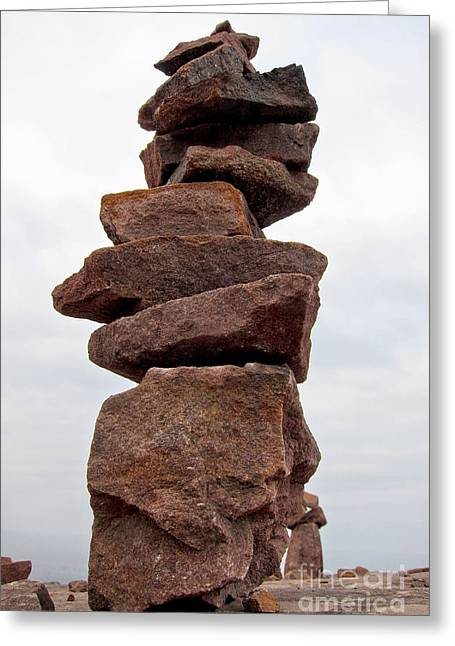 Stacked Rocks Greeting Cards - Druid Cairn  Greeting Card by Olivier Le Queinec