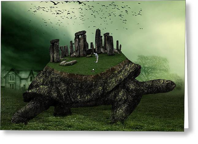 Stone Mixed Media Greeting Cards - Druid Golf Greeting Card by Marian Voicu