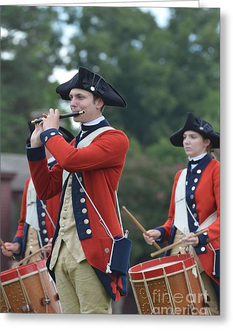 Colonial Actors Greeting Cards - Drum and Bugle Corp in Colonial Williamsbnurg Greeting Card by DejaVu Designs