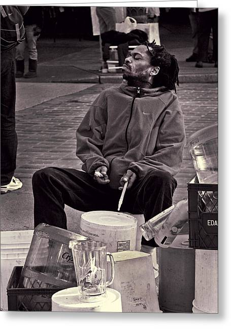Improvisational Greeting Cards - Drum Kit Man Greeting Card by Steve Raley