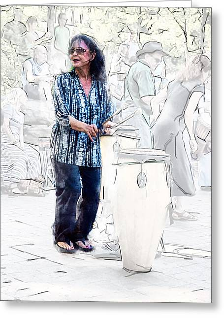 Appalachia Greeting Cards - Drum Mother Greeting Card by John Haldane