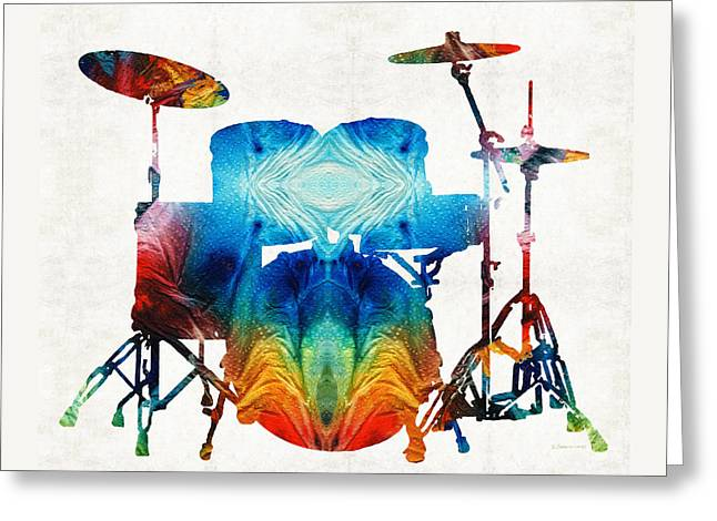 Drum Set Art - Color Fusion Drums - By Sharon Cummings Greeting Card by Sharon Cummings
