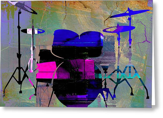 Instrument Greeting Cards - Drum Set Greeting Card by Marvin Blaine