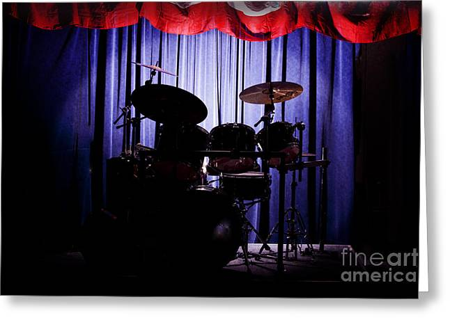 Bands On Stage Photographs Greeting Cards - Drum Set On Stage Photograph Combo Jazz color 3234.02 Greeting Card by M K  Miller