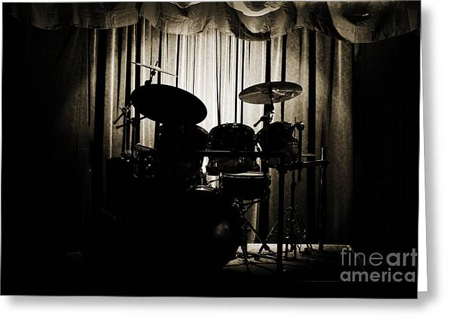 Drum Set On Stage Photograph Combo Jazz Sepia 3234.01 Greeting Card by M K  Miller