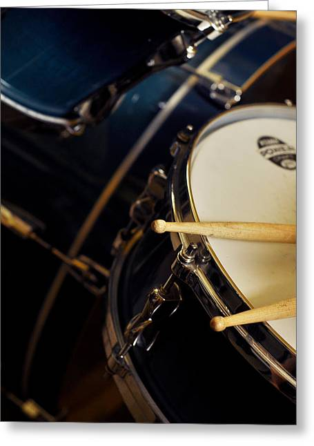 Drum Sticks Greeting Cards - Drum Sticks with Drum Set Greeting Card by Rebecca Brittain