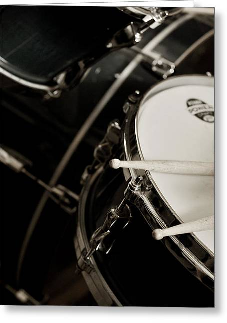 Drum Sticks Greeting Cards - Drum Sticks with Snare Drum Sepia Greeting Card by Rebecca Brittain