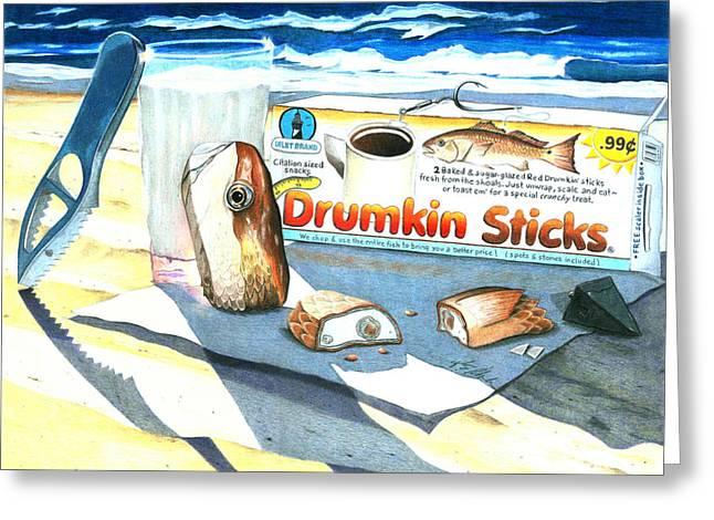 Fishing Rods Drawings Greeting Cards - Drumkin Sticks Greeting Card by Karen Rhodes