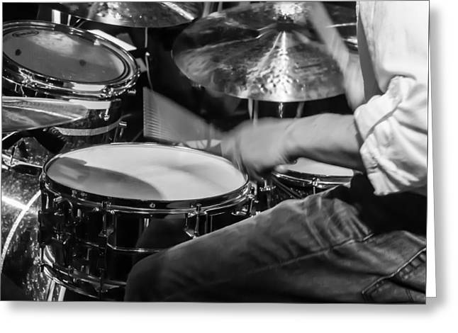 Ride Cymbal Greeting Cards - Drummer at work Greeting Card by Photographic Arts And Design Studio