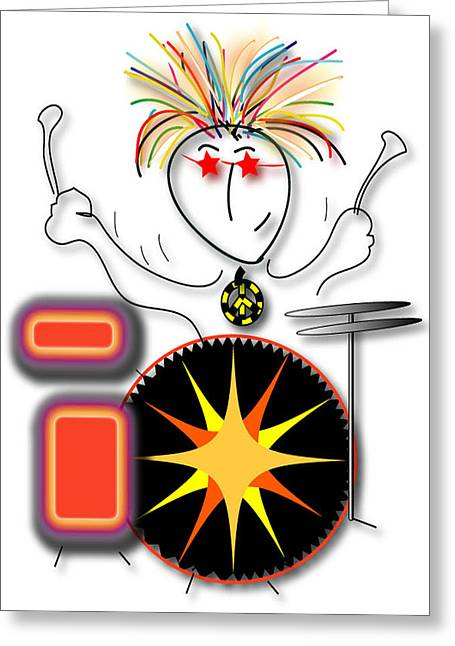 Drummer Spike Greeting Card by Marvin Blaine
