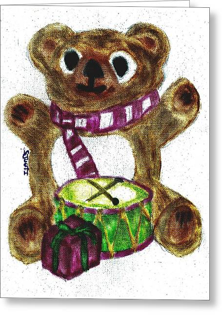 Scarf Pastels Greeting Cards - Drummer Teddy Greeting Card by Shaunna Juuti