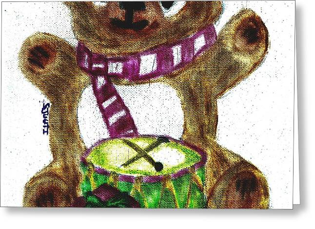 Drummer Teddy Greeting Card by Shaunna Juuti