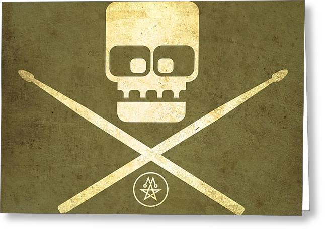 Olive Drab Greeting Cards - Drumskull Greeting Card by Milton Thompson